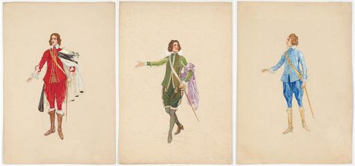 "Rudolf HAFNER - 水彩作品 - ""Three stage costume designs"" watercolors, 1920s"