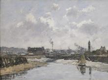 Eugène BOUDIN - Peinture - Trouville, Le Port Marée Basse, Le Matin