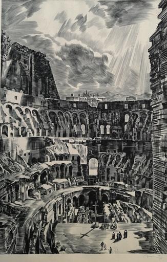Albert DECARIS - Grabado - Intérieur du Colisée