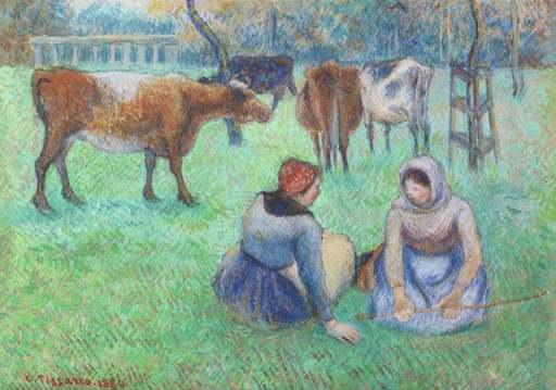Camille PISSARRO - Painting - Paysannes assises gardant des vaches
