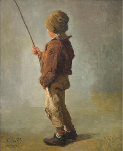 Rudolf KOLLER - Pintura - Knabe mit Angelrute