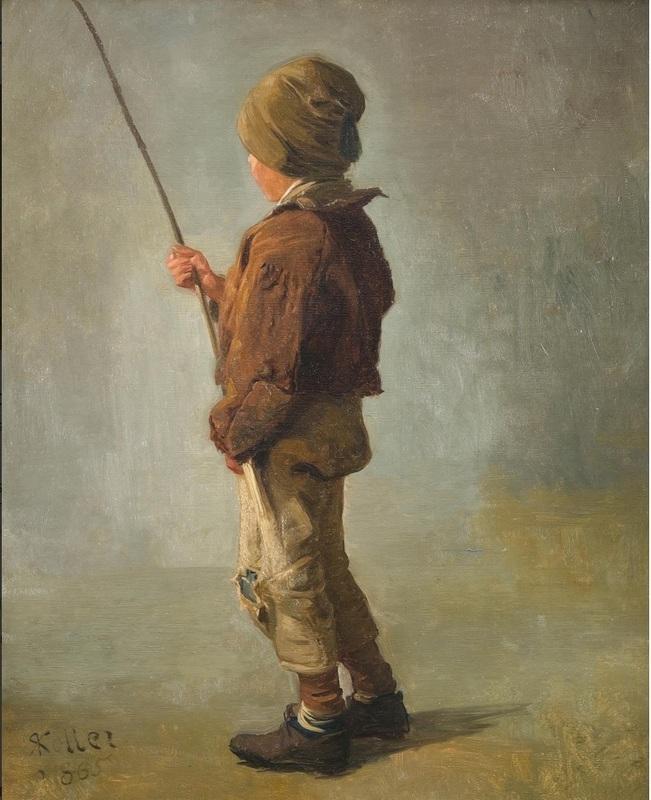 Rudolf KOLLER - Gemälde - Knabe mit Angelrute