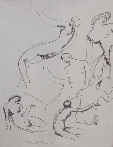 MARCEL-LENOIR - Dibujo Acuarela - Femmes nues