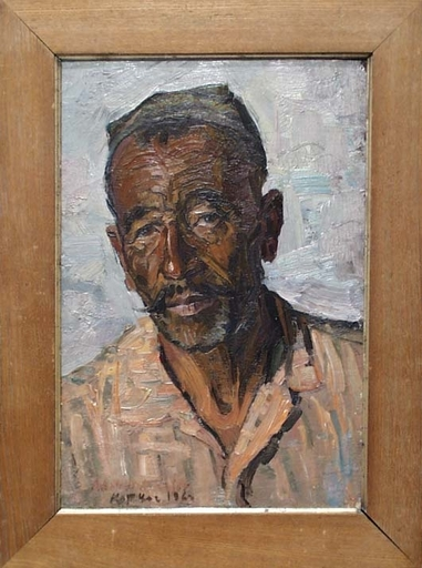 "Vassili KARKOTS - Pittura - ""Portrait of a Kazakh"", Oil Painting by Vasili Karkots"