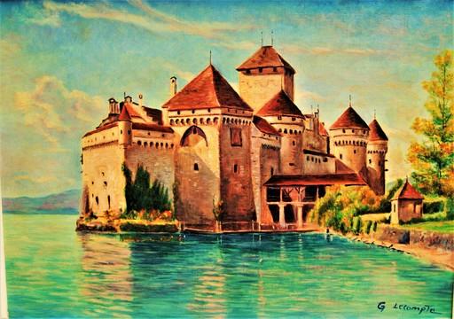 Georges LECOMPTE - Pintura - Chateau de Chillon, lac Leman. Suisse