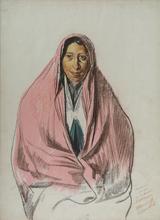 Alexander Evgenevich IACOVLEFF - Drawing-Watercolor - Femme perse en costume d'intérieur [Persian Woman in Interio