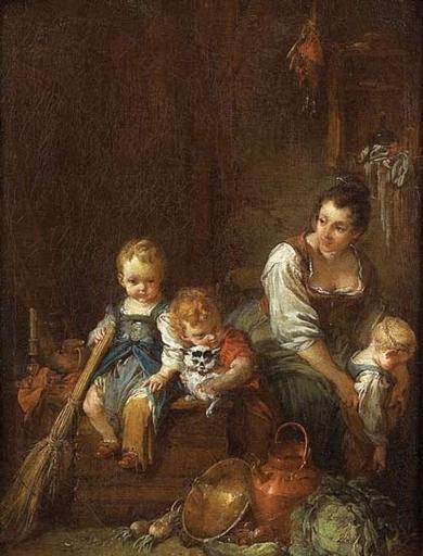 François BOUCHER - Painting - La belle villageoise