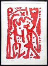A.R. PENCK - Estampe-Multiple - ohne Titel (Rot)