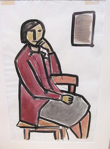 Johann Georg MÜLLER - Dessin-Aquarelle - Frau auf Stuhl vor Fenster oder Bild.