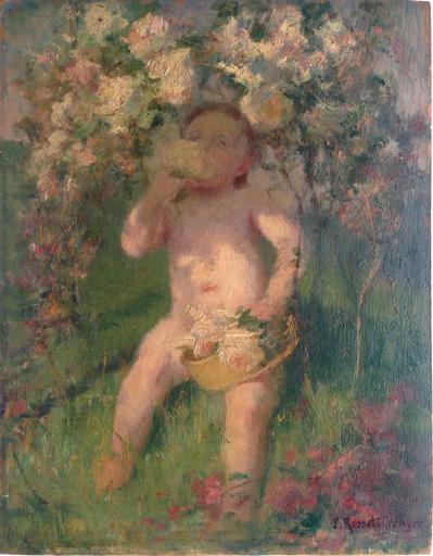 """Édouard ROSSET-GRANGER - Pintura - Etude pour """"Dans les vignes"""""""
