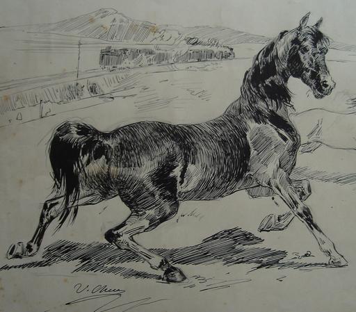 """Ulpiano CHECA Y SANZ - Dibujo Acuarela - """"Cheval de fer"""" caballo de Hierro"""