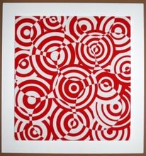 Antonio ASIS - Print-Multiple - interferences cercles rouge et blanc