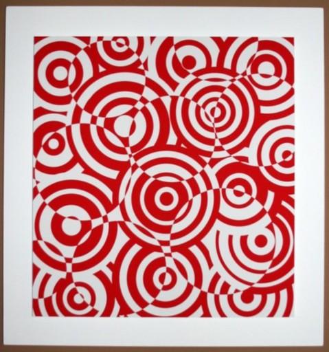 Antonio ASIS - Grabado - interferences cercles rouge et blanc