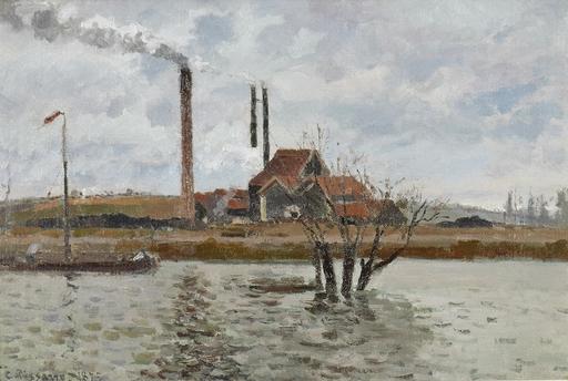 Camille PISSARRO - Peinture -  Usine à Saint-Ouen-l'Aumône, la Crue de l'Oise