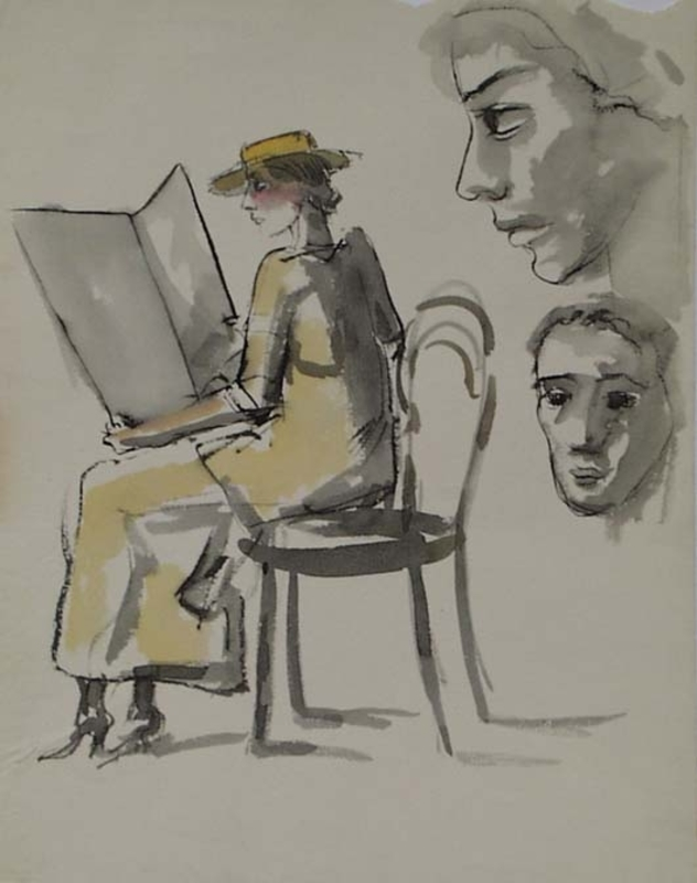 "Caspar NEHER - Drawing-Watercolor - ""Study of a Reading Woman"" by Caspar Neher, ca 1930"