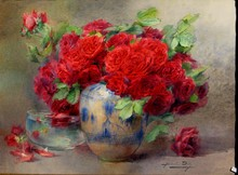 """Blanche ODIN - Drawing-Watercolor - TRES GRANDE AQUARELLE """"LES ROSES ROUGES"""""""