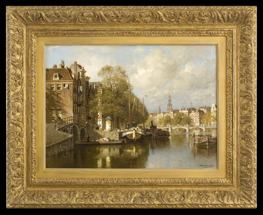 Karel KLINKENBERG - Pintura - A View on the Amstel, with the Blauwbrug and the Zuiderkerk,