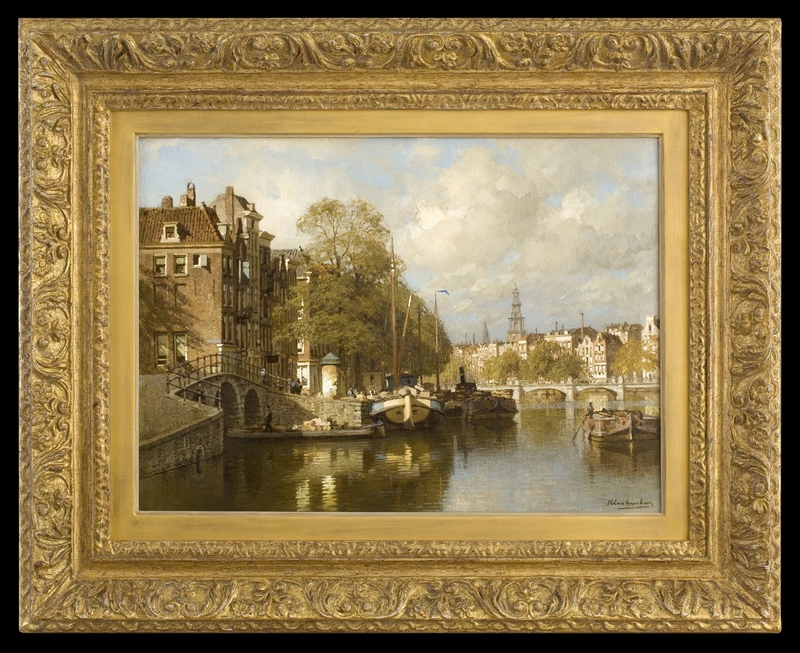 Karel KLINKENBERG - Painting - A View on the Amstel, with the Blauwbrug and the Zuiderkerk,