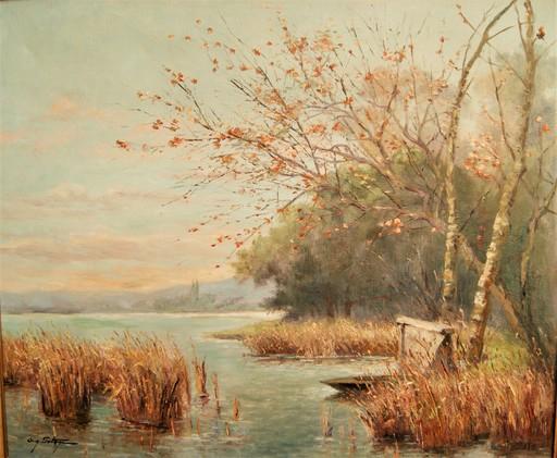 Auguste POTAGE - Pittura - Barques dans les roseaux sur la berge du lac