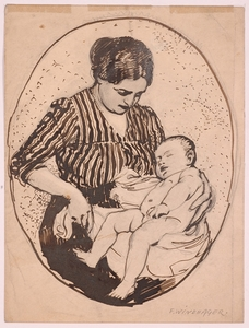 """Franz WINDHAGER - 水彩作品 - """"Young Mother"""" by Franz Windhager, ca 1910"""