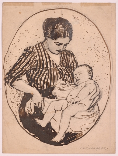 "Franz WINDHAGER - Drawing-Watercolor - ""Young Mother"" by Franz Windhager, ca 1910"