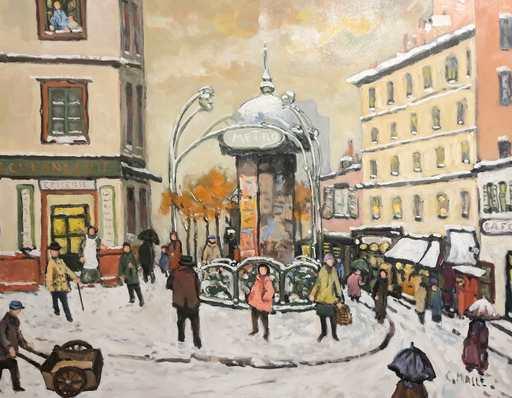 Charles MALLE - Peinture - Paris, station de métro Crimée