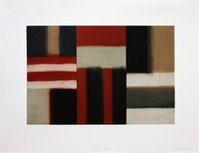 Sean SCULLY - Grabado - Cut ground red