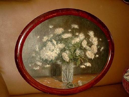 G. HOFFMANN - Pittura - Weißer Chrysanthemenstrauß in Kristallvase