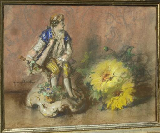 Franz HUTH - Dibujo Acuarela - Stilleben mit Porzellanfigur