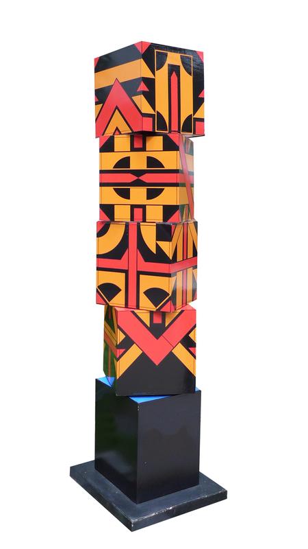Michel BISBARD - Sculpture-Volume - Totem rotatif orange