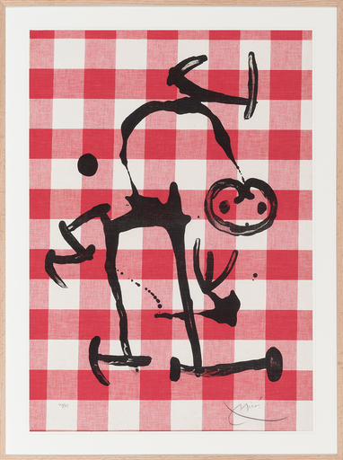 胡安·米罗 - 版画 - L´illêtre aux carreaux rouges
