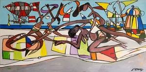Claude VENARD - Gemälde - Dirigeable sur la plage