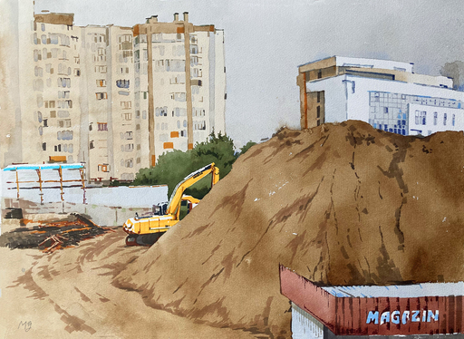 """Maria GROSS - Drawing-Watercolor - realistic cityscape """"Yellow sea sand"""""""