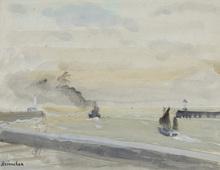 Maurice BRIANCHON - Dessin-Aquarelle - La sortie du port