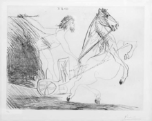 """Pablo PICASSO (1881-1973) - Television: Course de Chars a L""""Antique"""