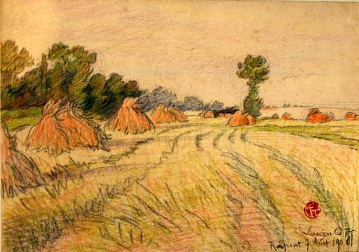 Lucien OTT - Disegno Acquarello - les meules de foin, 1906