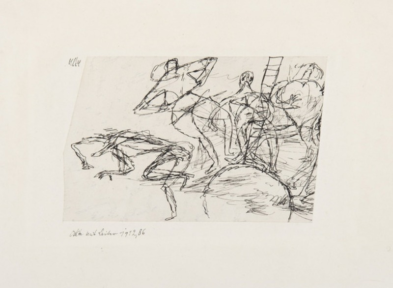 Paul KLEE - Zeichnung Aquarell - Akte mit leiter ou Nudes with ladder