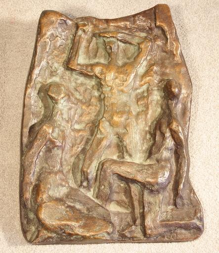 Ernst OLDENBURG - Escultura - Relief mit drei Personen