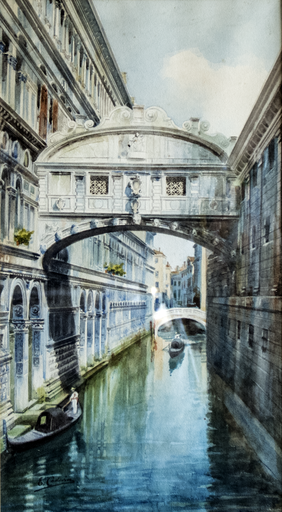 Ettore CADORIN - Zeichnung Aquarell - The Bridge of Sighs in Venice