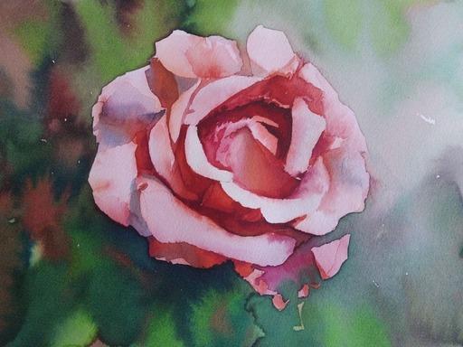 Galina VINDALOVSKAIA - Zeichnung Aquarell - Who does not appreciate a rose, will not appreciate anything