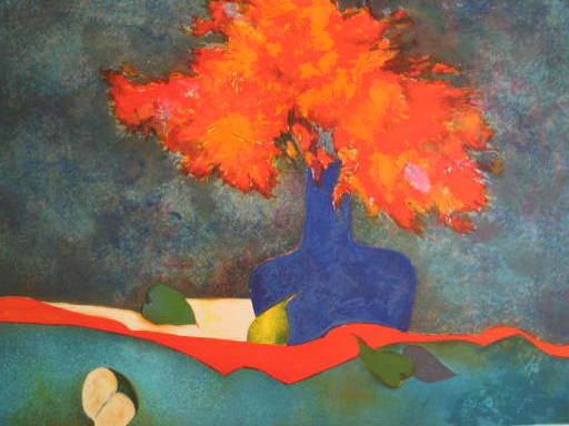 Claude GAVEAU - Stampa Multiplo - Le bouquet à la pomme,1989.