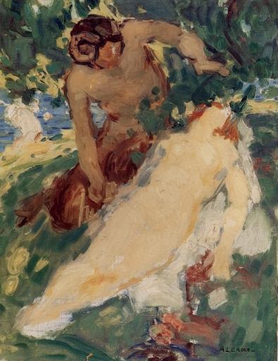 Auguste LEROUX - Peinture - Satyre et nimphae