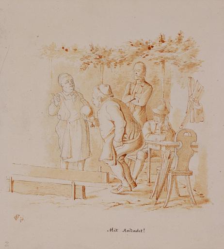 """Victor ODESCALCHI - Disegno Acquarello - Prince Viktor Odescalchi, """"Playing Skittles"""", 1876"""