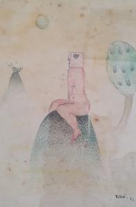 Tilsa TSUCHIYA - Drawing-Watercolor - Conversation with a Fish