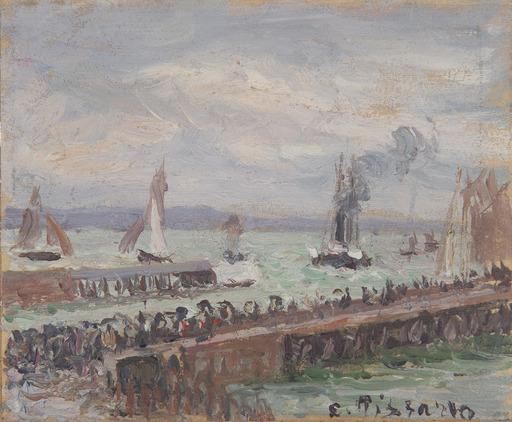 Camille PISSARRO - Peinture - Entrée du port du Havre et le brise-lame ouest, soleil, mer