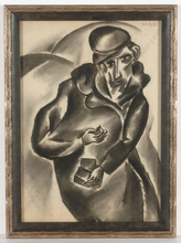 "Boris DEUTSCH - Dibujo Acuarela - ""Jew with snuff-box"""
