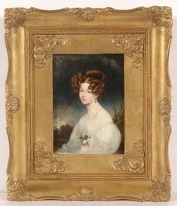 "Moritz Michael DAFFINGER - Miniatur - ""Karoline, Baroness von Siber"", large miniature on ivory"