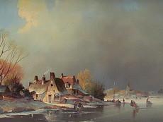 L. DE VOGEL - Painting - Schlittschuhläufer auf der Gracht