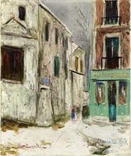 Maurice UTRILLO - Painting - Belle Gabrielle et la rue Saint Vincent, Montmartre