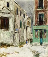Maurice UTRILLO - Pintura - Belle Gabrielle et la rue Saint Vincent, Montmartre